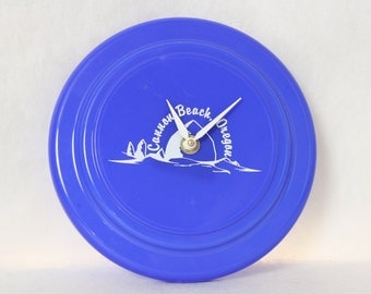 Royal Blue Cannon Beach Oregon Frisbee Wall Clock, Advertising, Souvenir, Geekery, Clocks by DanO