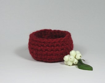 Crochet Basket Red Extra Small / Housewarming Gift