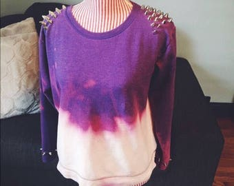 Dip Dyed Studded Crewneck Sweatshirt