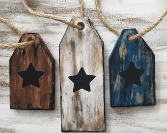 Set of 3 wooden star signs