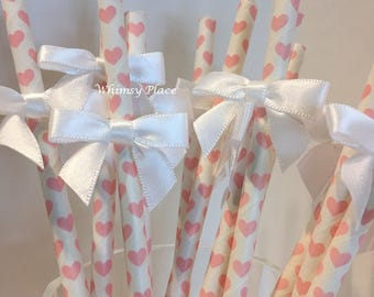 Bow Embellished Heart Party Straws - set/12
