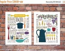 "ON SALE Modern Kitchen Art Prints - Culinary Love Fine Art - (2) 11"" x 14"" // Brown, Tan, Beige, Multi-Color // Modern Kitchen Art Decor"