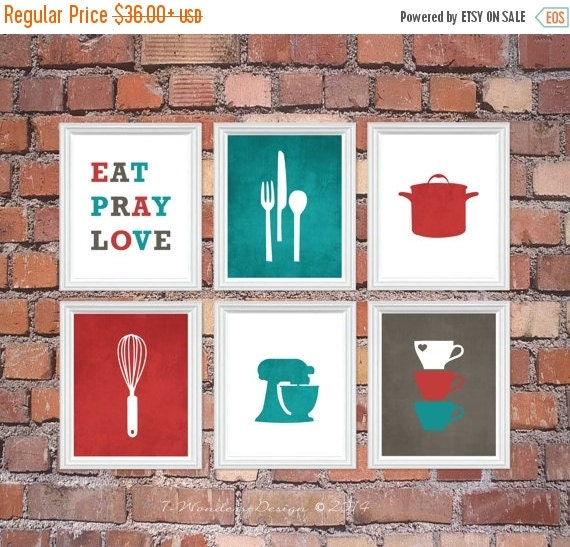 Modern Kitchen Wall Decor Eat Pray Love Trio By: ON SALE Kitchen Art Print Set Eat Pray Love By 7WondersDesign