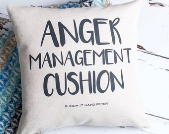 Personalised Anger Management Custom Made Pillow Cushion Cover Quality Linen Cotton with Name