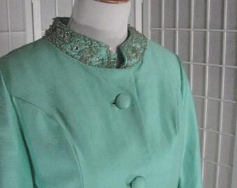 1960s Mint Green Beaded Dress & Jacket Ensemble.......   MINT CONDITION.......  size 12