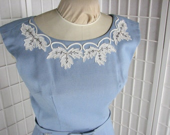 1950s  Appliqued Blue Wiggle Dress  by  Sidney Kramer .....     size 10 /Medium ......    HOLD for Jakki