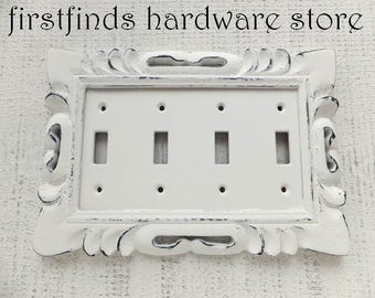 Light Switch Plate Electrical Cover Quad Shabby Chic White DIstressed Black Vintage Wood Plastic Wall Toggle Four Framed ITEM DETAILS BELOW