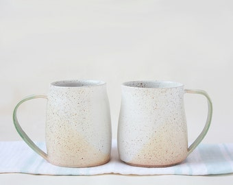 Set of two large Speckled Ceramic Stoneware Mugs