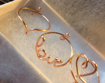 Set of 3 Adjustable Rings, Little Love Script, Pointed Ring, Small Heart Ring