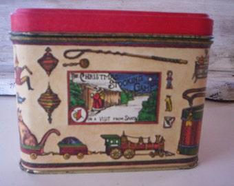 Christmas Metal tin container/Holiday metal tin container/Candy tin/Gift tin/Christmas theme container/Decorative winter tin/Holiday decor
