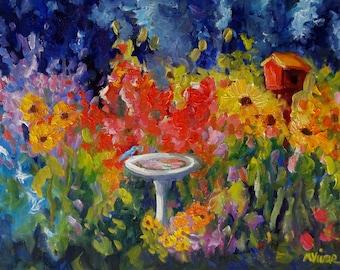 Landscape original impasto oil painting garden sunflower painting art original painting