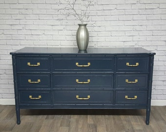 Available Hollywood Regency, Neoclassical faux bamboo Gloss Dresser and nightstand