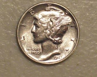 US 1941 Winged Liberty Head Mercury Dime, UNC, Silver