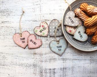Mr&Mrs Thank you wooden boho heart ornaments magnets bridal shower baby shower boho wedding favors white polka dot