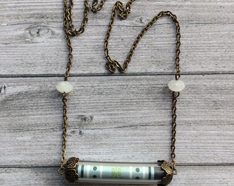 Locket Necklace - medium size necklace - paper jewelry - bronze chain necklace - offer earrings - crystal beads - gift for her - classic