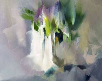 Lilacs in Silver, Flower oil painting, Original contemporary artwork, Floral painting, Abstract Modern art green painting