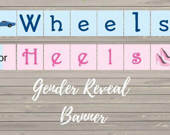 DYI Printable Wheels or Heels gender reveal Banner- car