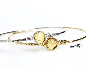 Genuine Citrine Bangle / Sterling Silver or 14k Gold Fill Citrine Bracelet / November Birthstone Gift for Her / Mothers Jewelry Push Gift