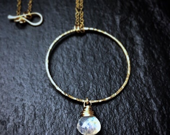 Genuine Rainbow Moonstone Necklace / June Birthstone Necklace / Gold Filled or Sterling Silver Rainbow Moonstone Necklace Gift for Her