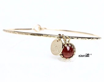 Genuine Garnet Charm Bangle / January Birthstone Bracelet  / Gold Gemstone Jewelry / January Birthday Gift for Mom / Mothers Jewelry