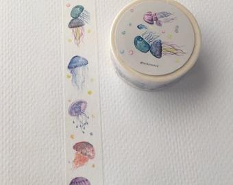 Watercolor Washi, Jellyfish, Cute Washi Tape, Kawaii Stationery, Planner Supplies, Planner Washi Tape, Japanese, Diary Tape