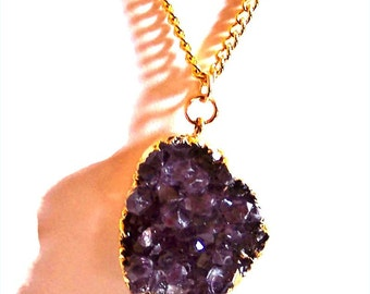 SALE - 25% Off Original Price NECKLACE, Amethyst Druzy.   Golden Electroplated Natural Amethyst Druzy Gemstone Pendant on 18
