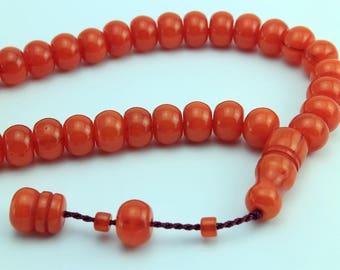 Orange color 33 pcs Islamic Prayer Beads Misbaha Rosary Tesbih worry 401034