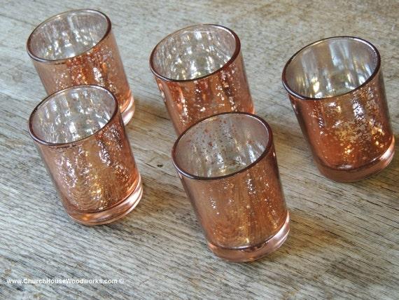 96 rose gold mercury glass votive holders copper candle. Black Bedroom Furniture Sets. Home Design Ideas
