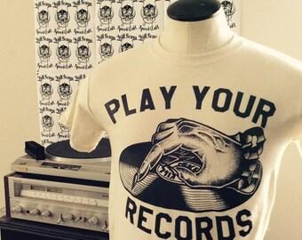 play your records backwards natural white t shirt vinyl record lp punk doom metal classic rock n roll patch leather biker satan black player