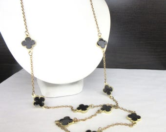 Extra Long Necklace Black Enamel Flowers & Goldtone Chain Single Strand 34 -37 Inches