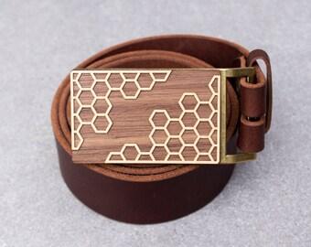 Hexagon Belt Buckle, Wood Belt Buckle, Geometric Belt Buckle, Men's Belt Buckle, brown belt, Gift for boyfriend, gift for husband, guy gift