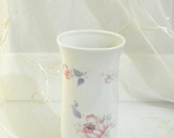 May Sale Vintage FTD Porcelain White Bud Vase with Lavender and Pink Flowers, Made in Japan
