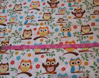 70 Inches White with Multicolored Owls in Trees Cotton Fabric