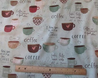 Pale Green I Love Coffe Phrases Fabric by the Half Yard