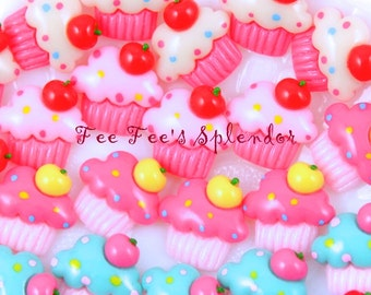 10 pc set- Sweet Cupcake- Flat back resin-*- Cupcakes Hair bow Center- Resin cabochon