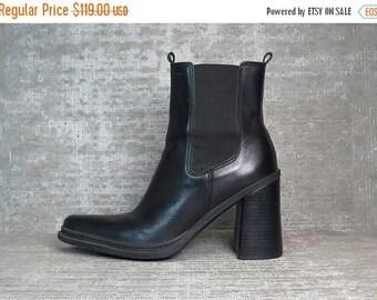 Vtg 90s Black Leather Chunky Block Heel Minimal Ankle Boots 8.5