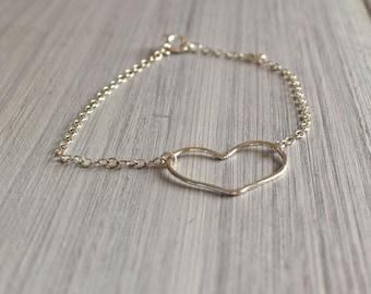 sterling silver heart chain bracelet, heart bracelet, heart, boho chic, yoga, minimist,silver chain bracelet,love,charm