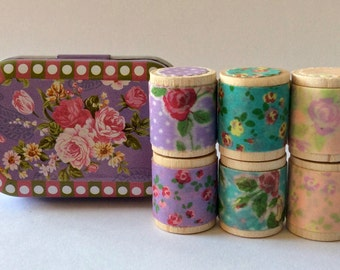 """Designer Washi Tape """"Itty Bitty Shabby Chicy"""" in Collectible Purple Rose Tin. Set of Six 1 yard tiny spools Featuring Tape from Colte Japan."""