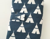 Baby Travel Change Pad...Navy Tee Pees with Minky...Padded... Ready to Ship...Shower Chic