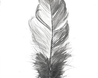 Feather painting, watercolor painting original, Black and White feather illustration 7,5 by 11 inch