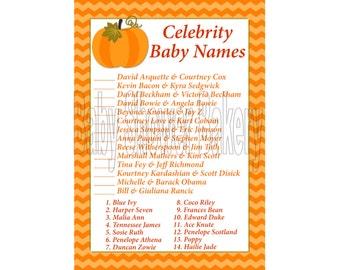 Little Pumpkin Theme Baby Shower, Celebrity Baby Name Game, Pumpkin Baby Shower Game, Printable Fall or Autumn Theme Baby Shower Game