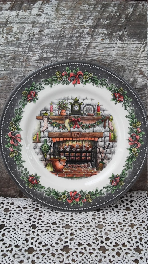 "Royal Stafford, ""Christmas Eve-Cozy Fireplace"" Dinner Plate, 11"", Burslem England, Serving, See Details Below"