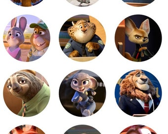 Zootopia cupcake toppers or stickers favor tags digital download 2 inch circles collage pdf instant printable labels 22807