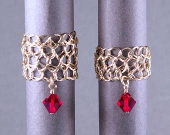 Size 4 Red Gold Ring | 14k gold filled wire crochet jewelry | July birthstone ruby dangle ring | Crochet wire ring