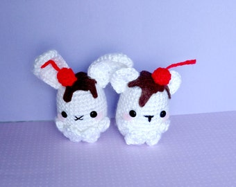 Crochet Sundae Bean Amigurumi Bear and Bunny (1)