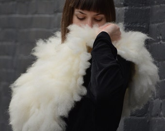 Gorgeus eco-friendly felted fur collar fron natural organic sheep curls - hand made wet felted wool fur trendy scarf - OOAK -to order!