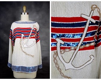 Nautical Sequin Art Deco Top / Fully Embellished Striped Silk Beaded Blouse / Red White Blue Gold Anchor Sequined Top