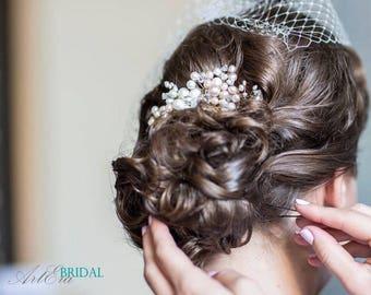Bridal hair comb, Freshwater Pearls hair jewelry, Champagne pearls, bridal pearls, weddin  pearls head piece