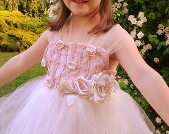 Flower Girl Dress 5-8 old girl, Couture vintage style wedding dress, Tulle kids dress, Bridesmaid, Birthday Dress, antique doll dress