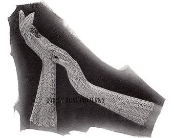 Instant Digital Pattern Women's Crochet 1930s Long Lace Evening Gloves #9996 PDF
